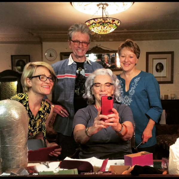 Betty Buckley with costume designer Ilona Somogyi, wig designer Paul Huntley and wig mistress Inga Thrasher