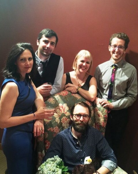 Stacy Stoltz (Emma), Katy Carolina Collins (Mash), Jonathan L. Green (director) and Cody Proctor (Dev) at the opening night party for STUPID F##KING BIRD at Victory Gardens
