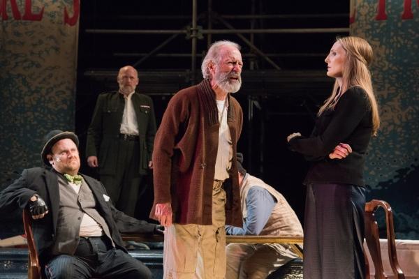 Fool (Brandon Whitehead), Duke of Albany (Mark Soucy), King Lear (Will Lyman) and Goneril (Deb Martin)