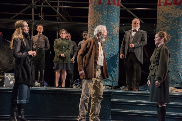 Goneril (Deb Martin), King Lear (Will Lyman), Earl of Gloucester (Fred Sullivan, Jr.) and Regan (Jeanine Kane) with the ensemble