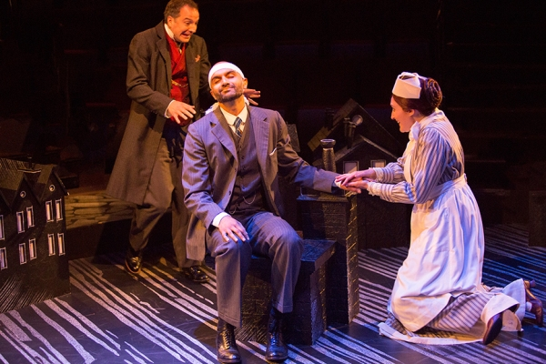 Euan Morton as Sherlock Holmes, Usman Ally as Doctor Watson, and Liz Wisan as Nurse Malloy