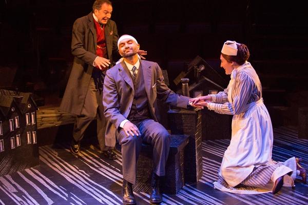 Euan Morton as Sherlock Holmes, Usman Ally as Doctor Watson, and Liz Wisan as Nurse Malloy