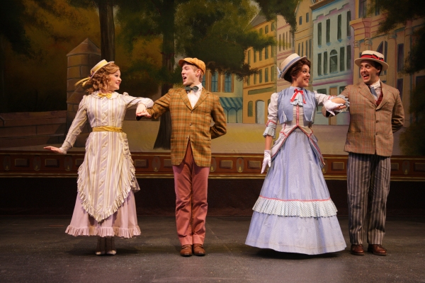 Romance is in the air in 1890s Yonkers when Minnie Fay (Daisy Wright) meets Barnaby Tucker (Patrick Garr) and Irene Molloy (Kerry Conte) meets Cornelius Hackl (Steve Hitchcock)