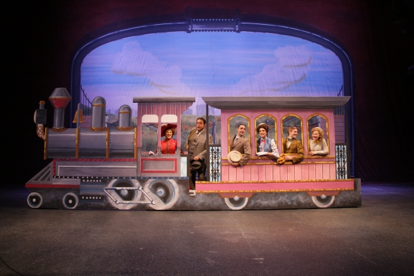 Kathryn Kendall (Dolly), Bill Nolte (Horace), Steve Hitchcock (Cornelius), Kerry Conte (Irene), Patrick Garr (Barnaby) and Daisy Wright (Minnie), on the evocative set desig