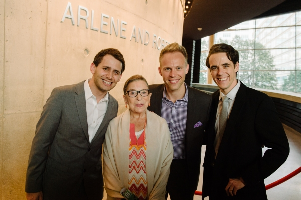 Benj Pasek, Justice Ruth Bader Ginsburg, Justin Paul and Steven Levenson Photo