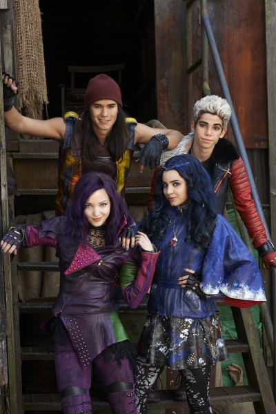 Dove Cameron as Mal, Booboo Stewart as Jay, Sofia Carson as Evie and Cameron Boyce as Carlos
