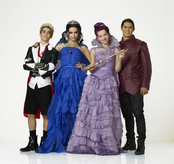 Cameron Boyce as Carlos, Sofia Carson as Evie, Dove Cameron as Mal and Booboo Stewart as Jay