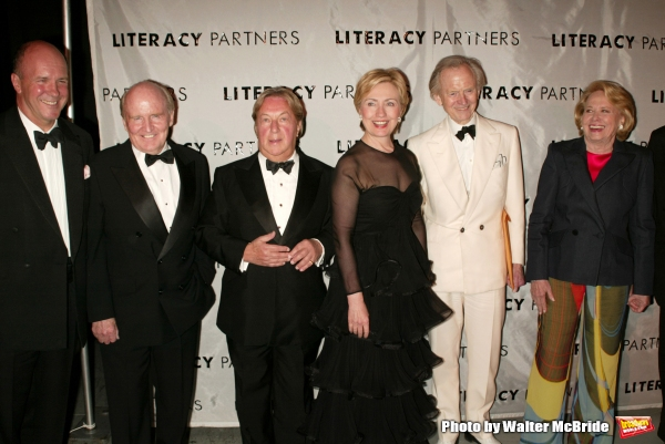 Simon Winchester, Jack Welch, Arnold Scaasi, Hillary Rodham Clinton, Tom Wolfe and Liz Smith attending  the Literacy Partners 20th  Annual Gala, AN EVENING OF READINGS at Lincoln Center, Honoring Tom Brokaw, Tim Russert and Jack Welch on May 3, 2004 at Li