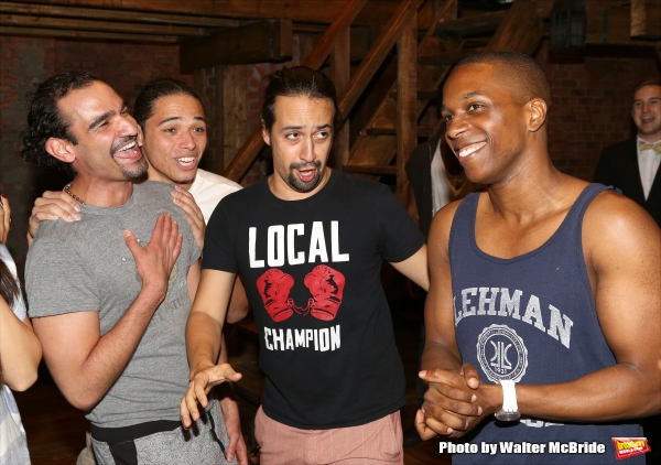 Javier Munoz, Anthony Ramos and Lin-Manuel Miranda singing Happy Birthday to Leslie Odom Jr.
