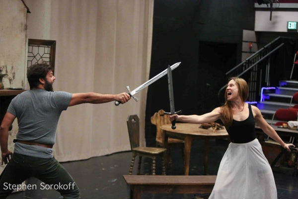 Fight Scene Rehearsal, Nathaniel Kent & Anne Troup Photo