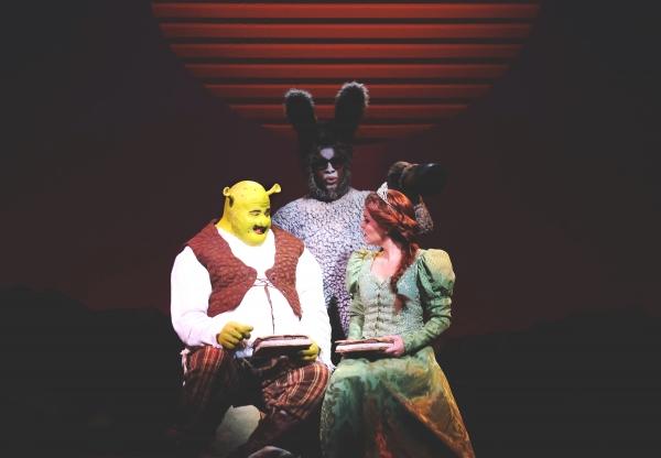 T.J. Dawson as Shrek, Cornelius Jones, Jr. as Donkey and Michelle London as Princess  Photo
