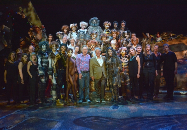 Andrew Lloyd Webber and Cameron Mackintosh with Cats Cast