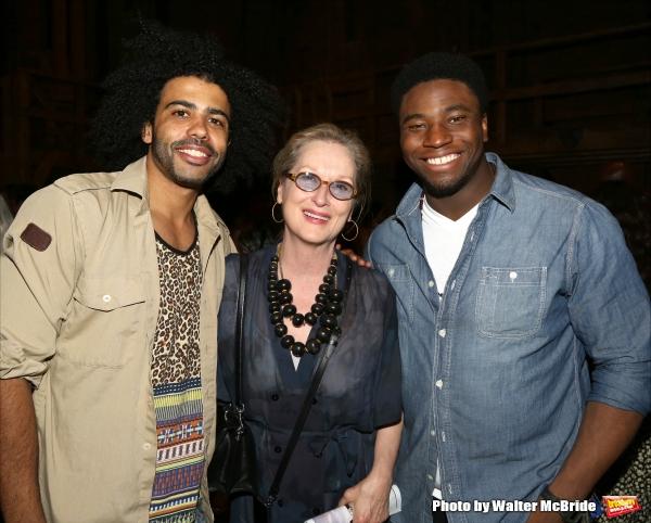 Meryl Streep visits Daveed Diggs and Okieriete Onaodowan