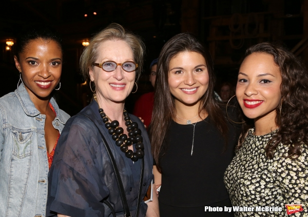 Meryl Streep visits Renee Elise Goldsberry, Phillipa Soo and Jasmine Cephas Jones