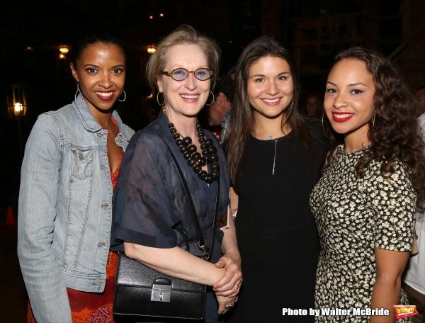 Meryl Streep visits Renee Elise Goldsberry, Phillipa Soo and Jasmine Cephas Jones