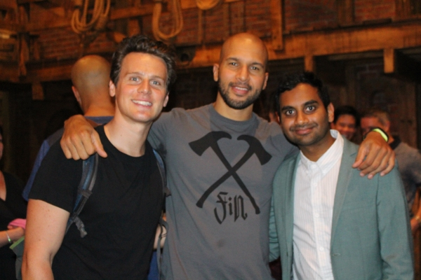 Jonathan Groff, Sydney James Harcourt and Aziz Ansari