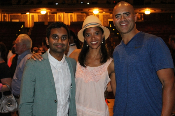 Aziz Ansari, Renee Elise Goldsberry and Christopher Jackson
