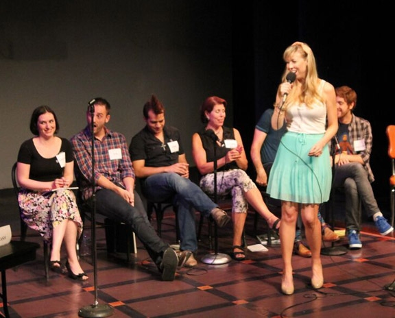 Emily McNamara and Christiana Cole, Joe Kinosian, Erik Jareth Ransom, Clare Cooper and Kellen Blair.