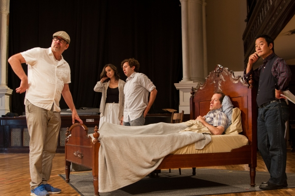 Steppenwolf co-founder Terry Kinney (East of Eden director) with cast members Aaron Himelstein (Caleb Trask) and Brittany Uomoleale (Abra Bacon), ensemble member Tim Hopper (Adam Trask) and cast member Stephen Park (Lee)