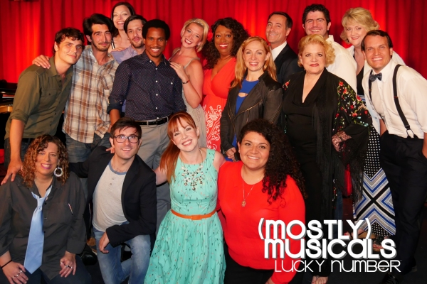 The (mostly)musicals Lucky NUMBER 13 family: standing: music director Gregory Nabours, David Crane, Heather Lake, Christopher Maikish, Eric B Anthony, Alli Miller, Sandra Benton, Christina Morrell, Tod Macofsky, Sharon McNight, Jason Peter Kennedy, Pat Wh