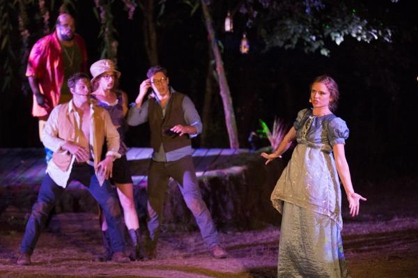 Korie Lee Blossey as Oberon, Hubbard Farr as Lysander, Lily Davis as Helena, Ken Arpino* as Demetrius, Marian van Noppen as Hermia