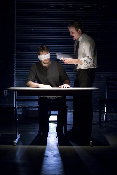 Jeff Ronan as Katurian, Hubbard Farr as Tupolski Photo