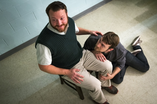 James Vesey as Michal, Jeff Ronan as Katurian Photo