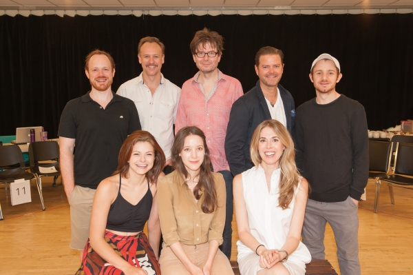 Front row: Izzie Steele, Brooke Bloom, Lucy Owen. Standing: Sean Dugan, John Sanders, director James Macdonald, Clarke Thorell, Chris Perfetti