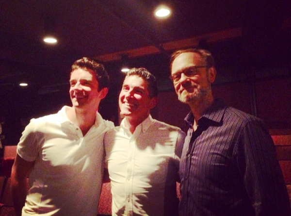 Michael Urie and David Hyde Pierce with James Lecesne