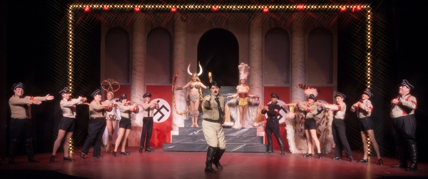 Roger Debris (Kevin Murphy) as 'The Singing Dancing Hitler' with the cast of THE PRODUCERS