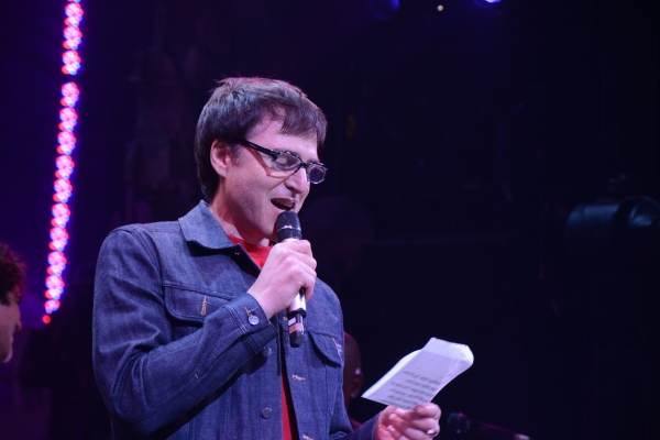 Stephen Trask reading a note from John Cameron Mitchell