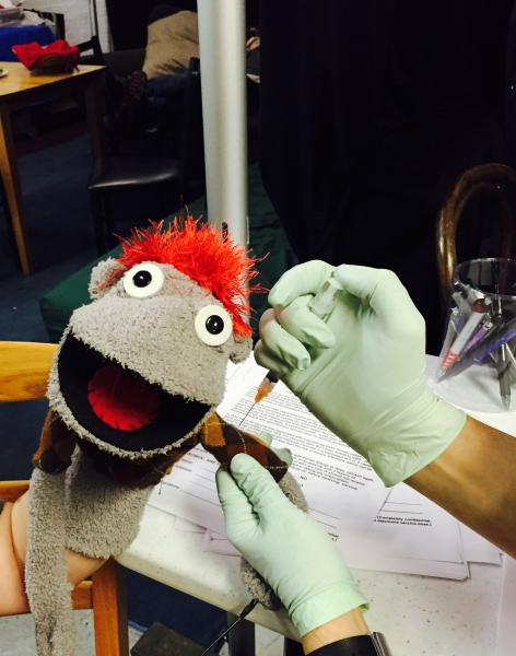 Photo Flash: Broadway Stays Healthy! HAND TO GOD's Tyrone Gets His Flu Shot