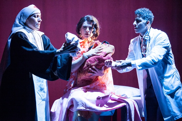 Marian Licha as Sister Sonia, Gabriela Fernandez-Coffey as Fabiola Castillo and Oscar Ceville as Dr. Jorge Ramiro Mendoza