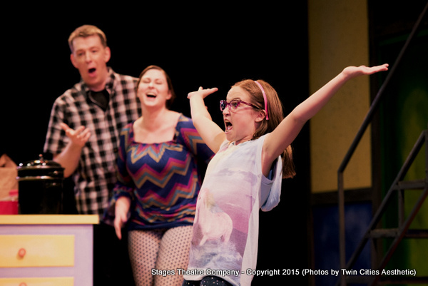 Brent Teclaw, Brittany Parker and Ellie Turk in Junie B. Jones the Musical at Stages Theatre Company