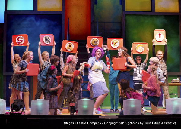 Brittany Parker as MRS GUTZMAN with the cast of  Junie B. Jones the Musical at Stages Theatre Company
