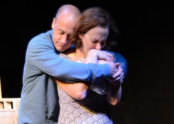 Joe (Sean Paraventi) comforts Maggie (Krista Schafer Ewbank) Photo