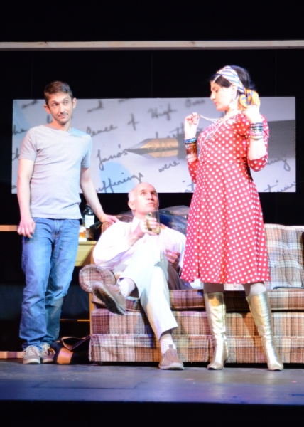 Beverly (Lisa Maxine Melinn) shows off her dancing ''medals'' to Mark (Bailey Boudreau) and Brian (Dennis Kleinsmith)