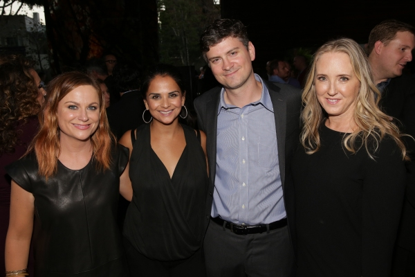 NBCUNIVERSAL EVENTS -- NBCUniversal Pre-Emmy Party at BOA Steakhouse -- Pictured: (l-r) Amy Poehler, ''Parks and Recreation''; Bela Bajaria, President, Universal Television; Michael Schur, Executive Producer, ''Parks and Recreation'' and ''Brooklyn Nine-N