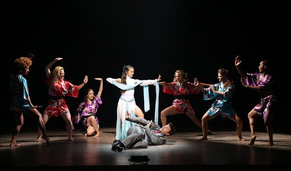 Erica Wong and Alex Michael Stoll (center) with the cast in David Henry Hwang''s vignette WHITE SNAKE.