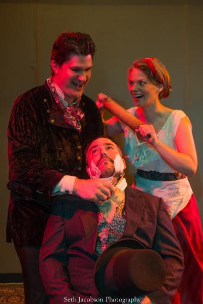 Jason Shealy as Sweeney Todd, Eden Casteel as Mrs. Lovett, Terry Shea as The Judge