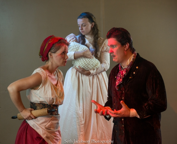 Maggie Papa as Johanna, Jason Shealy as Sweeney Todd, Eden Casteel as Mrs. Lovett