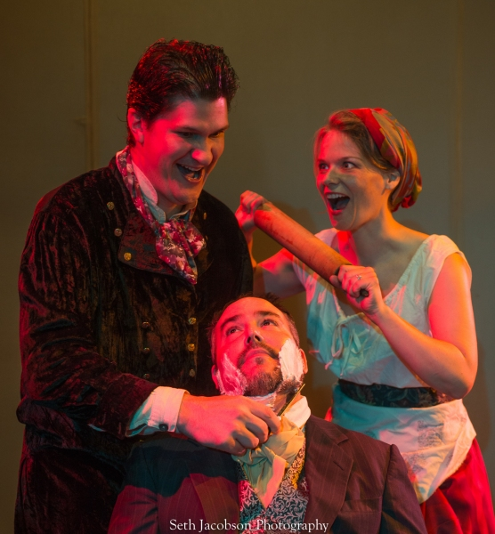 (Clockwise from top left) Jason Shealy as Sweeney Todd, Eden Casteel as Mrs. Lovett, Terry Shea as The Judge