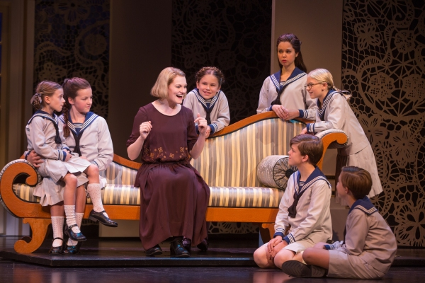Kerstin Anderson as Maria Rainer with the von Trapp children (from left, clockwise): Audrey Bennett, who plays Gretl, Maria Knasel (Louisa), Mackenzie Currie (Marta), Paige Silvester (Liesl), Svea Johnson (Brigitta), Erich Schuett (Friedrich), Quinn Erick