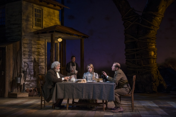 Francis Guinan (Samuel Hamilton), Stephen Park (Lee), and ensemble members Kate Arrington (Cathy Trask) and Tim Hopper (Adam Trask) have dinner together