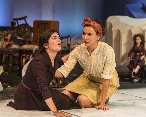 Emily James (Antigone) and Kyla Garcia (Ismene)