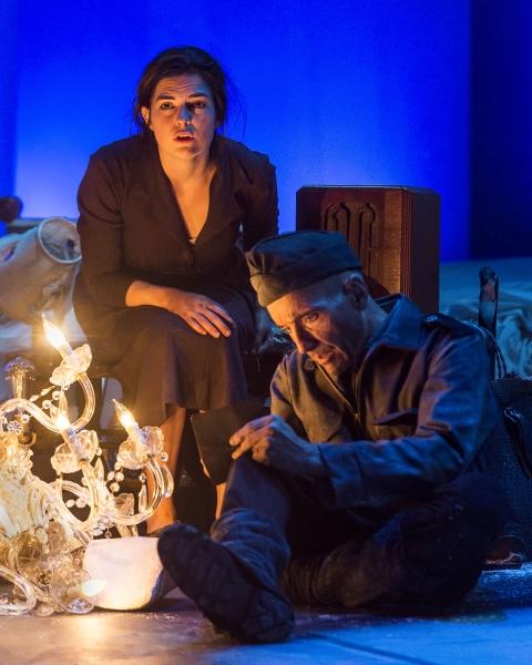 Emily James (Antigone) and Stephen Weingartner (Guard)