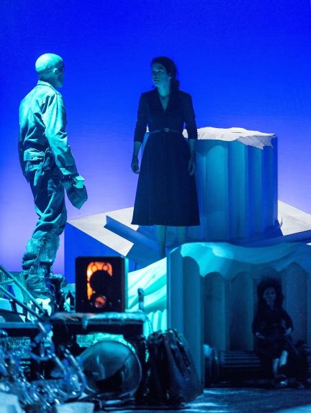 Stephen Weingartner (Guard) and Emily James (Antigone)