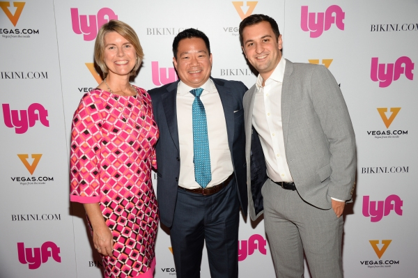 Lyft Chief Marketing Officer, Kira Wampler, Chairman and CEO of Remark Media, Kai-Shing Tao, and Lyft co-founder and president, John Zimmer at the Lyft launch party
