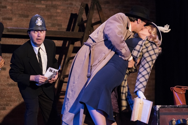 Andrew Calabrese as the Policeman, Justin DuPuis as Richard Hannay, and Ginny Wehrmeister as Pamela