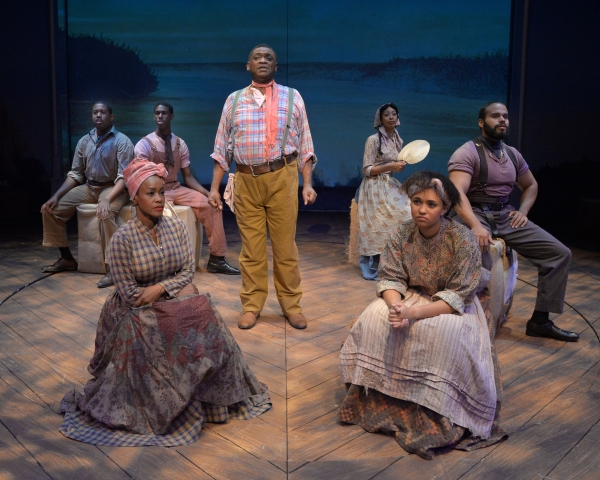 Michael James Leslie (as Joe, center) and the ensemble perform ''Ol'' Man River''